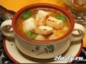 Рецепт Гороховый суп с гренками и копченостями (фото)