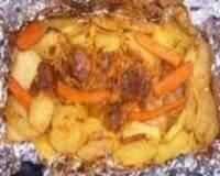 Фото: Отбивные из говядины в фольге с картошкой и шампиньонами