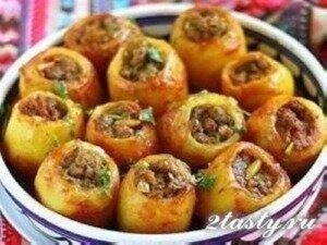 Рецепт Картофель фаршированный мясом (фото)