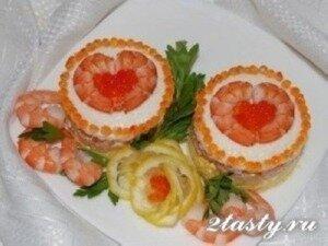 Фото: Романтический салат с креветками и сыром