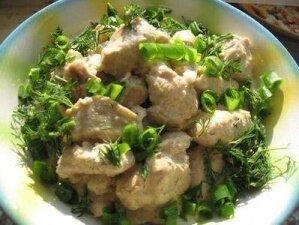 Рецепт Куриные грудки тушеные с баклажанами в сметане (фото)