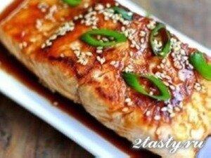 Рецепт Лосось запеченный с глазурью из соевого соуса (фото)