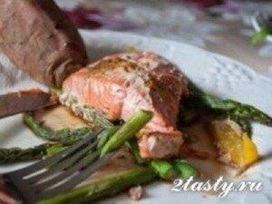 Рецепт Запеченный лосось, маринованный в апельсиновом соке (фото)
