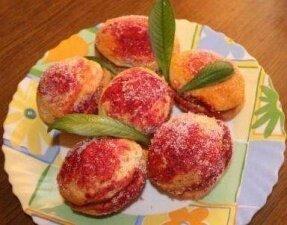 Фото: Печенье «персики» с ореховой начинкой