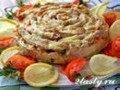 Мясной пирог с маринованными грибами