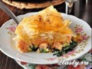 Рецепт Рыбный пирог с семгой и шпинатом (фото)