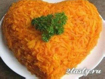 Рецепт Картофельный салат с говядиной «Сердце для любимой» (фото)