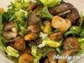Фото Салат с печенью и грибами