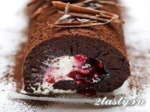 Рецепт Шоколадный рулет «Черный лес» (фото)