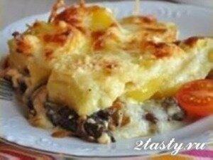 Рецепт Сырная запеканка с картошкой и грибами (фото)
