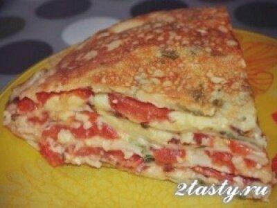 Рецепт Блинный торт с помидорами и грибами (фото)