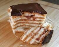 Рецепт Шоколадный торт-эклер из печенья и ванильного пудинга (фото)