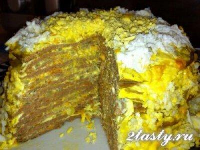 Рецепт Печёночный торт с морковью (фото)