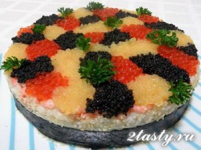 Рецепт Суши-торт с креветками и икрой (фото)