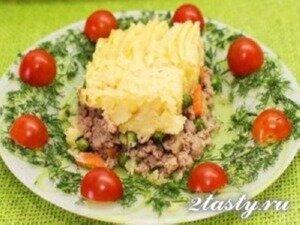 Рецепт Запеканка из картофельного пюре с фаршем (фото)